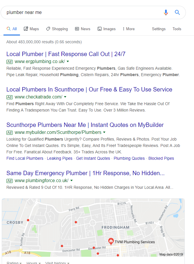 google search for plumber near me