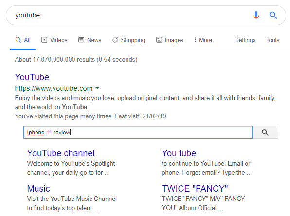 google search for youtube
