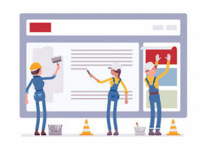 construction workers building a website